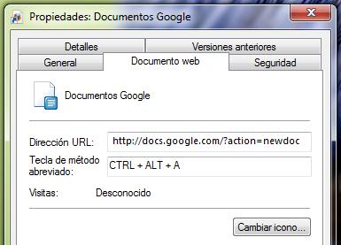 Crear accesos directos para nuevos documentos de Googl