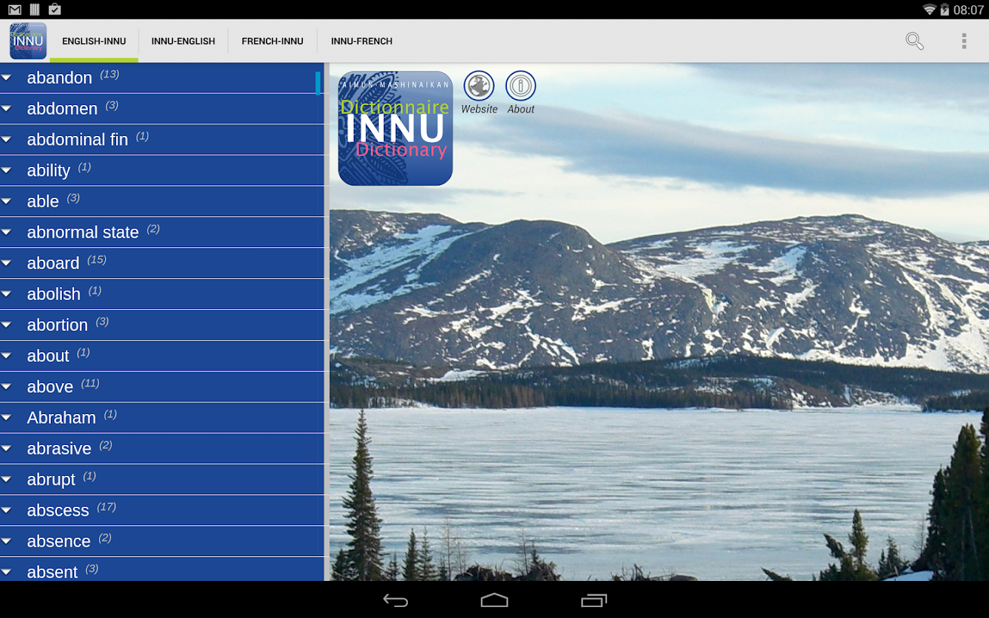 Innu Dictionary- screenshot