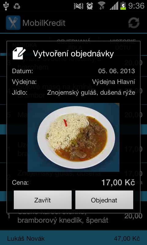Mobilní objednávání Kredit - screenshot