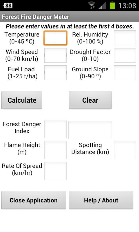 Forest Fire Danger Meter - screenshot