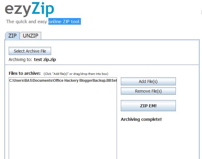 Online ZIP Tool