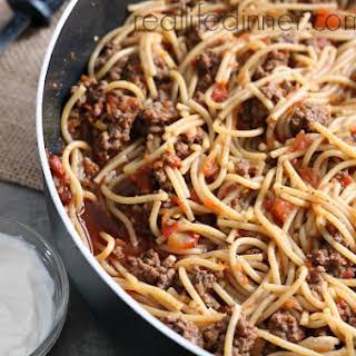 Taco Spaghetti Skillet Dinner.