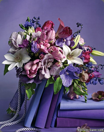 (clematis, parrot tulips, and kale), fierce purples (vanda orchids, hydrangeas, and delphiniums), and vibrant plums (gladiolus, mini calla lilies, tulips, and hellebores martha stewart