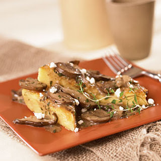 Polenta Triangles with Goat Cheese and Wild Mushrooms.