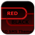 GO SMS Theme Dark Red Black