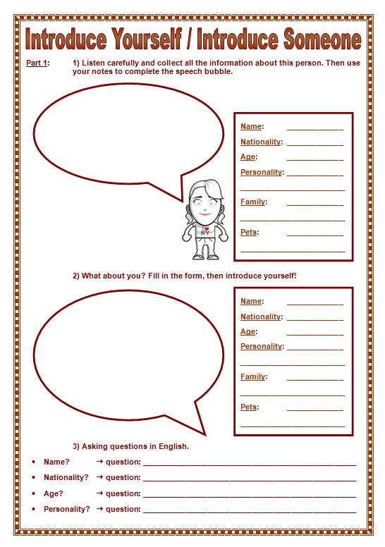 Introduce Yourself Kids. Introduce Yourself Someone. Kindergarten. Introducing Yourself Worksheet For Kindergarten At Mspartners.co