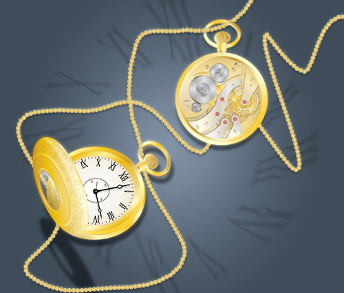 Draw a Glowing, Vector Pocket Watch – Front and Back