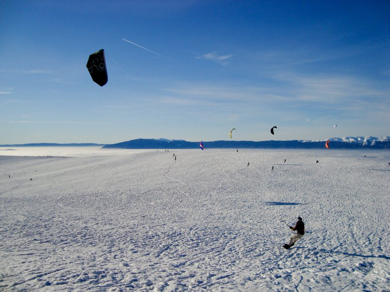 Snowkite au Salève en Haute Savoie