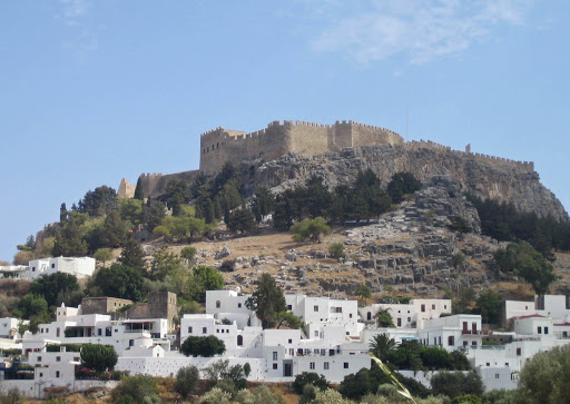 Acropolis-Lindos-Rhodes-Greece - The Lindos Acropolis in Lindos on the island of Rhodes, Greece.