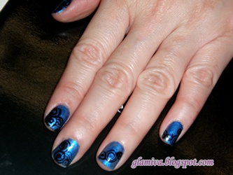 nail art designs blue black color