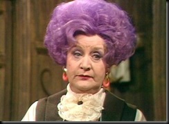 Mollie Sugden (1922 - 2009) as Mrs. Slocumbe in ARE YOU BEING SERVED?