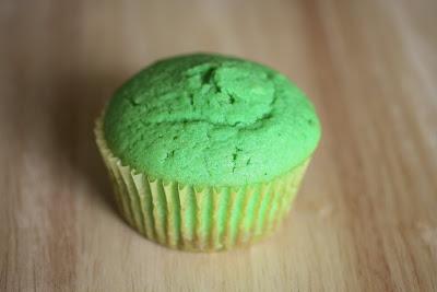 close-up photo of a pandan cupcake