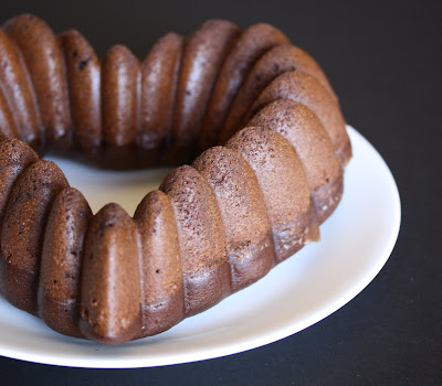 close-up photo of a chocolate bundt cake