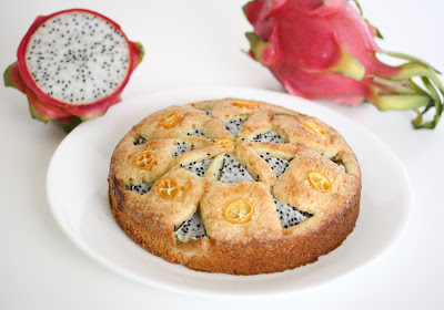 close-up photo of a dragon fruit cake on a plate
