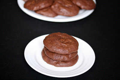 Brownie cookies stacked on a plate