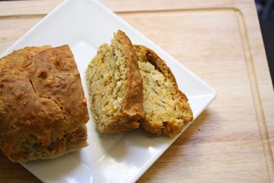 overhead photo of Rosemary cheese beer bread