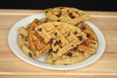 photo of waffled chocolate chip cookies on a plate