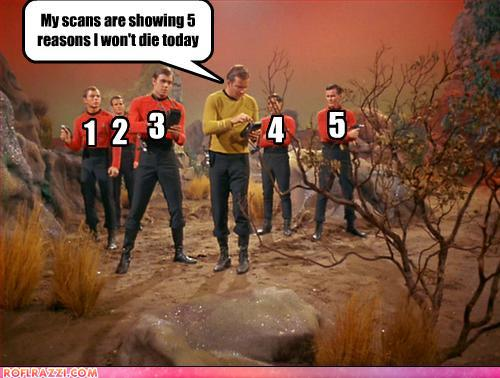 photo of captain Kirk with red shirts