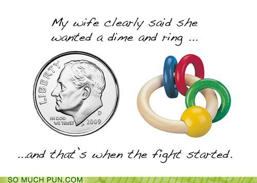 photo of a dime and a plastic ring