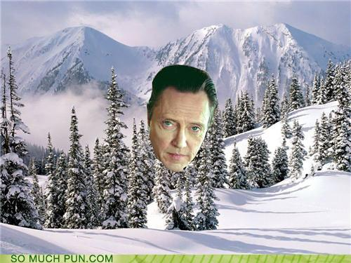 photo of snow covered valley and Christopher Walken's face in the middle