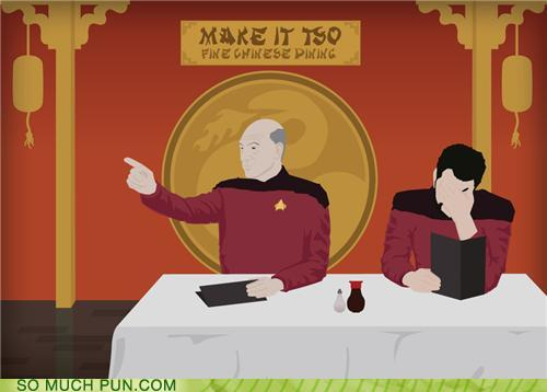 funny cartoon of captain Picard ordering in a Chinese restaurant