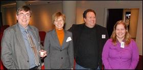 Vlnr Clive Billenness (Planets), Petra Helwig (NA), Frank Houtman (KB en bedenker van deze dag), Sara van Bussel (KB)