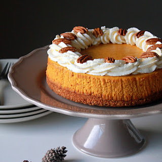 Pumpkin Cheesecake with Gingersnap Pecan Crust.