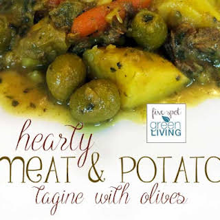 Hearty Moroccan Beef and Potato Stew with Olives.