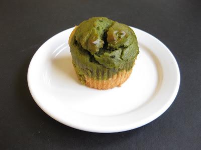 top-down photo ofo a matcha green tea cupcake
