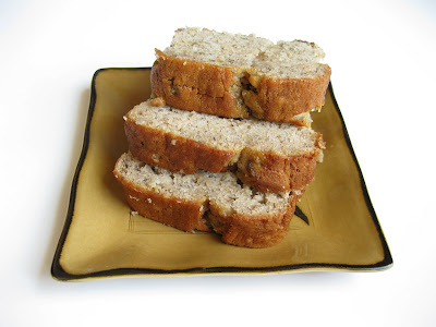 close-up photo of a plate of banana nut bread slices