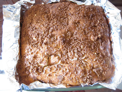 overhead photo of the baked coffee cake in a pan