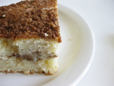 close-up photo of a slice of coffee cake