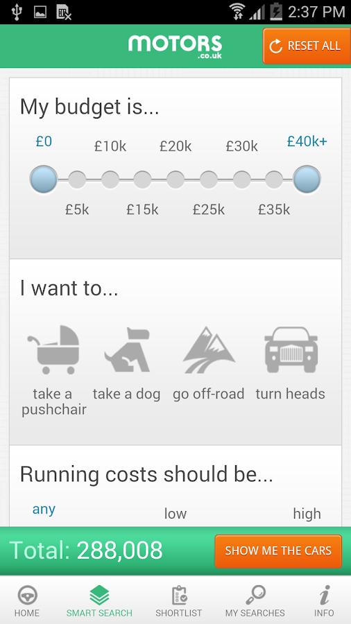 Motors.co.uk car search - screenshot