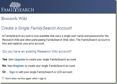 Familysearch Wiki登录信息