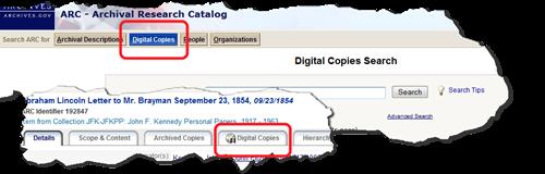 来自弧的详细信息显示数字副本搜索按钮和数字副本选项卡