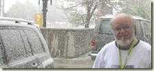 NGS与会者,Randy Seaver,在SLC享受春天的雪风暴