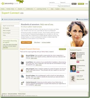Ancestry.com.添加了专家连接服务