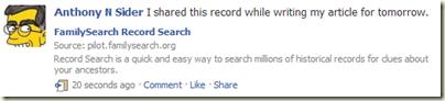 录制搜索的共享记录在Facebook上看起来像它