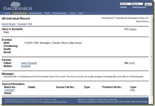 来自FamilySearch的个人记录'S国际系族指数
