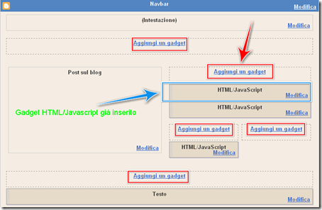come mettere un gadget html Javascript blog blogger