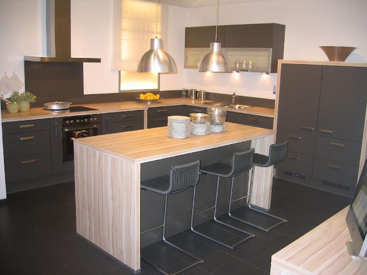 grosse wohnk che mit inselblock zum spitzenpreis grafit wildahorn sitzinsel ebay. Black Bedroom Furniture Sets. Home Design Ideas