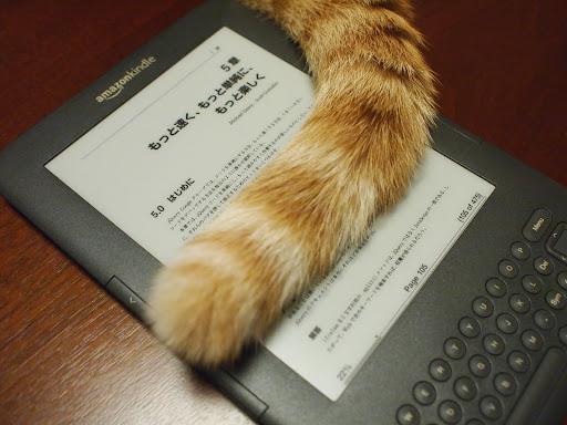 [写真]Kindleとしっぽ