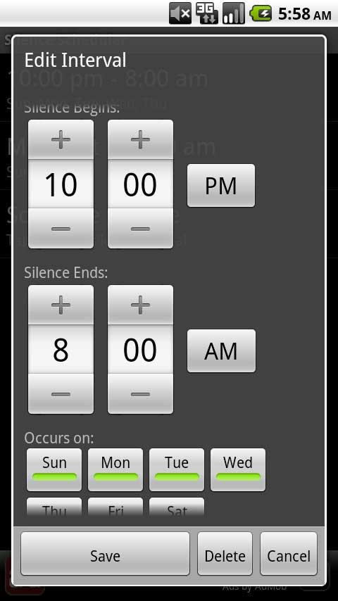 Silence Scheduler - screenshot