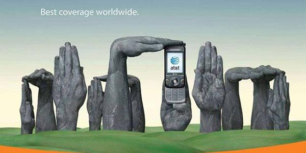 23 creative ads by AT&T [hand-modelling advertisements] - Stonehenge of Wiltshire, UK [England]