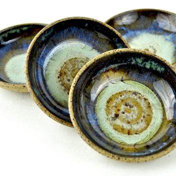 Blue and Green mini dipping bowls by glazedOver Pottery 4