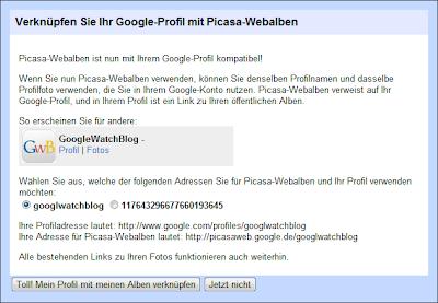 Picasa Web und Google Profile