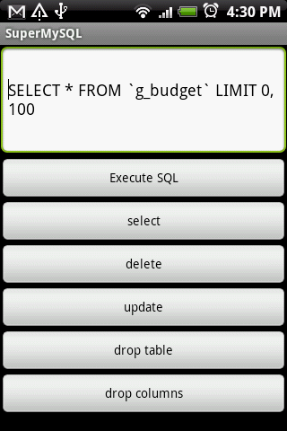 SuperMySQL- screenshot