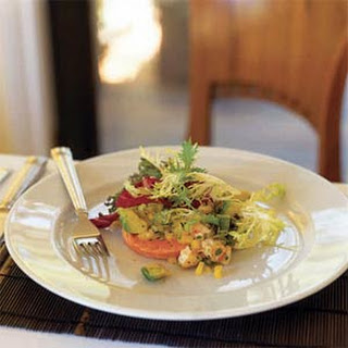 Seared Salmon with Avocado, Shrimp, and Mango Salsa.