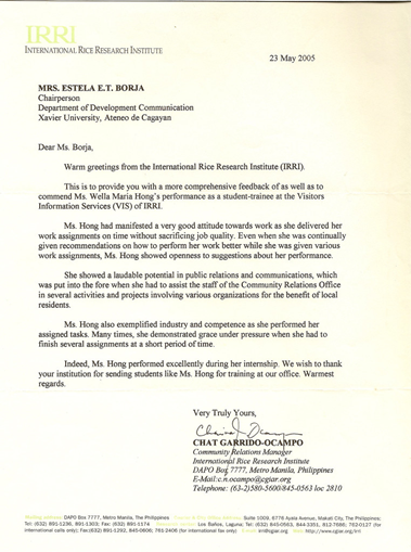 Wella Maria Sardon Hong Recommendation Letter From Irri