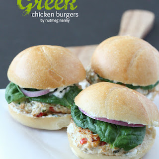 Greek Chicken Burgers with Greek Yogurt Sauce